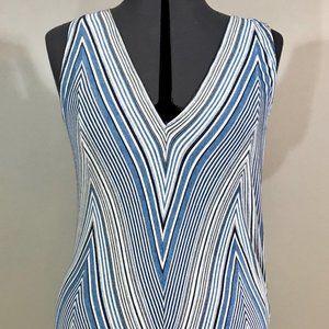 Max Studio Blue & White Striped Sleeveless Top